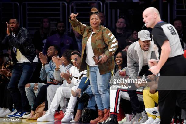 Chris Tucker Ludacris Queen Latifah and Chance The Rapper attend the 67th NBA AllStar Game Team LeBron Vs Team Stephen at Staples Center on February...