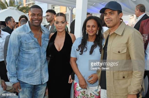 Chris Tucker Rita Ora Isabel dos Santos and Sindika Dokolo pose in the de Grisogono showroom Terrace 'Les Oliviers' at the Martinez Hotel during the...