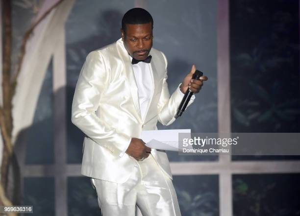 Chris Tucker speaks on stage at the amfAR Gala Cannes 2018 at Hotel du CapEdenRoc on May 17 2018 in Cap d'Antibes France
