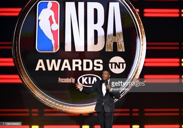 Chris Tucker speaks onstage during the 2019 NBA Awards presented by Kia on TNT at Barker Hangar on June 24, 2019 in Santa Monica, California.