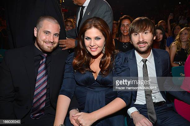 Chris Tyrrell Hillary Scott and Dave Haywood attend the 48th Annual Academy of Country Music Awards at the MGM Grand Garden Arena on April 7 2013 in...
