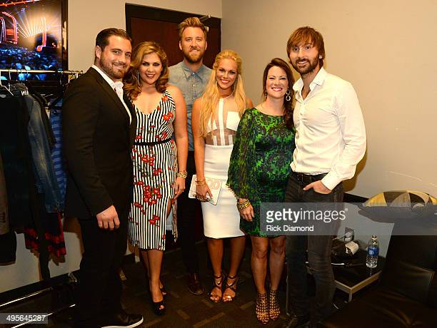 Chris Tyrrell Hillary Scott Kelli Cashiola Charles Kelley Cassie McConnell and Dave Haywood attend the 2014 CMT Music Awards at Bridgestone Arena on...
