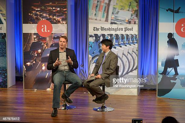 WASHINGTON DC OCTOBER Chris Urmson Director SelfDriving Cars Google is interviewed by David Cho Deputy Business Editor The washington Post at The...