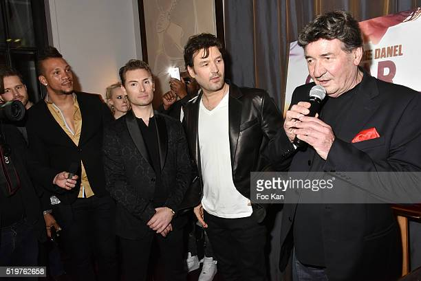 Chris V Fred Cauvin Jean Pierre Danel and Pascal Danel attend 'Guitar Tribute' by Golden disc awarded Jean Pierre Danel at Hotel Burgundy on April 7...