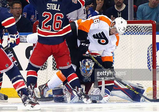 Chris VandeVelde of the Philadelphia Flyers misses a scoring chance against Antti Raanta of the New York Rangers during the second period at Madison...
