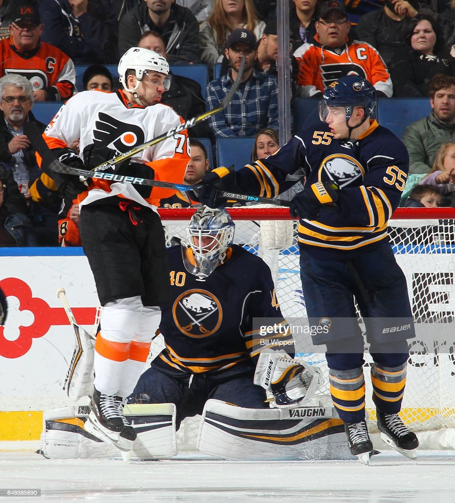 Chris VandeVelde #76 of the Philadelphia Flyers screens goaltender Robin Lehner #40 of the Buffalo Sabres on a third period goal by Travis Konecny (not shown) as Rasmus Ristolainen #55 of the Sabres defends during an NHL game at the KeyBank Center on March 7, 2017 in Buffalo, New York. The Flyers won, 6-3.