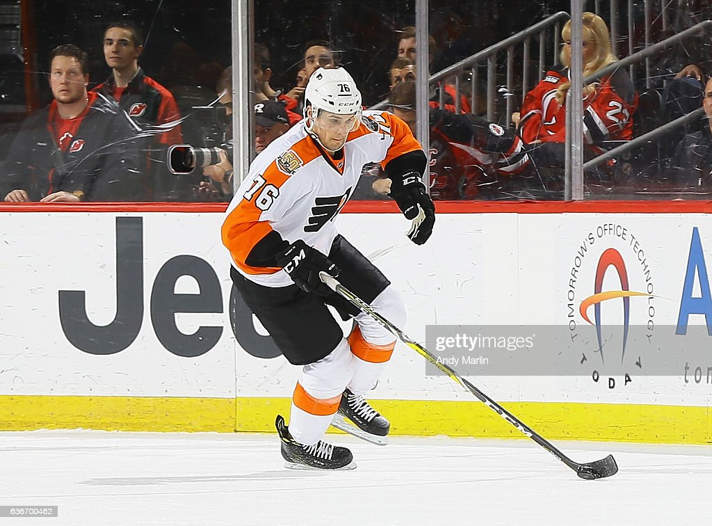 Chris VandeVelde #76 of the Philadelphia Flyers skates during the game against the New Jersey Devils at Prudential Center on December 22, 2016 in Newark, New Jersey.