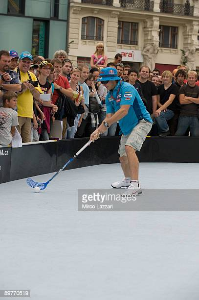 Chris Vermeulen of Australia and Rizla Suzuki MotoGP takes part in the preevent Floorball Match with Riders in Brno city on August 13 2009 in Brno...