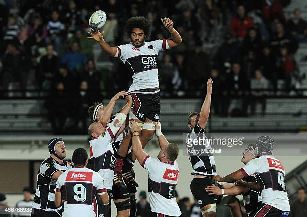 Chris Vui of North Harbour takes a lineout during the ITM Cup match between Hawke's Bay and North Harbour on September 5 2015 in Napier New Zealand