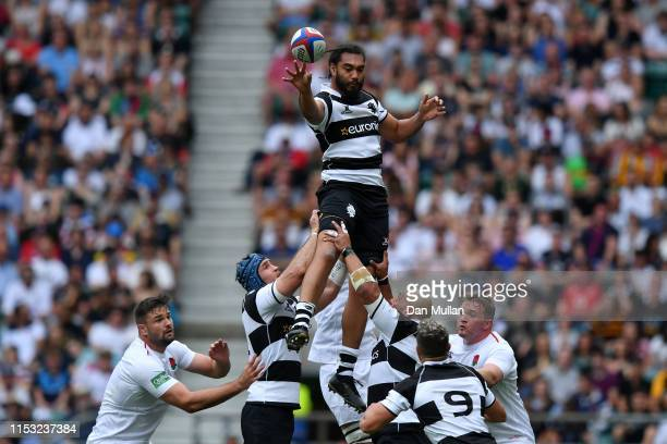 Chris Vui of the Barbarians rises to claim the lineout during the Quilter Cup match between England and the Barbarians at Twickenham Stadium on June...