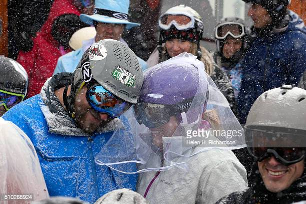 Chris Wacinski in blue and his wife Heather in purple helmet and vail joined 100 other couples at the 25th annual Mountaintop Matrimony Valentine's...