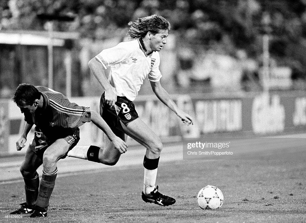 Chris Waddle in action for England during the FIFA World Cup match between England and Belgium in Bologna, 26th June 1990. England won 1-0 after extra-time.