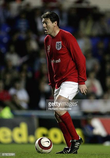 Chris Waddle of England in action during the Legends match between England and Germany at The Madejski Stadium on May 3 2006 in Reading England