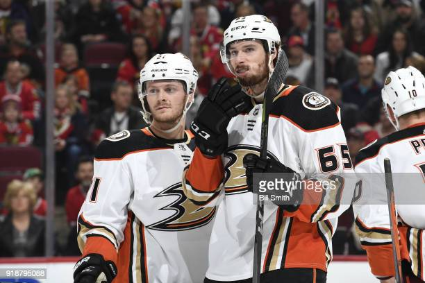 Chris Wagner and Marcus Pettersson of the Anaheim Ducks talk during the first period against the Chicago Blackhawks at the United Center on February...