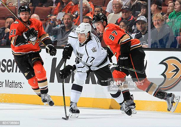 Chris Wagner and Nick Ritchie of the Anaheim Ducks pressure Jordan Nolan of the Los Angeles Kings during the game at Honda Center on November 20 2016...