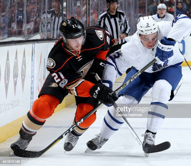 Chris Wagner of the Anaheim Ducks battles for position against Alexey Marchenko of the Toronto Maple Leafs on March 3 2017 at Honda Center in Anaheim...