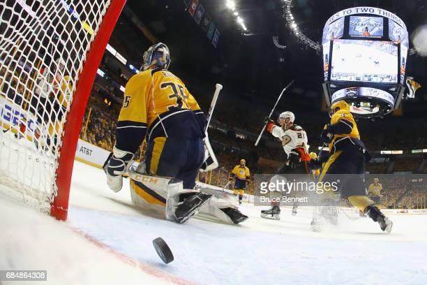 Chris Wagner of the Anaheim Ducks celebrates as Nick Ritchie of the Anaheim Ducks scores a goal against Pekka Rinne of the Nashville Predators during...