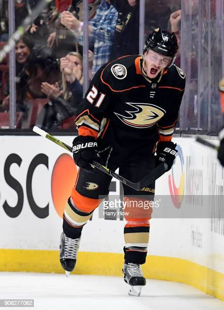 Chris Wagner of the Anaheim Ducks celebrates his shorthanded goal to take a 31 over the Pittsburgh Penguins during the second period at Honda Center...