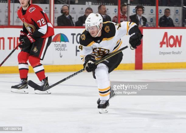 Chris Wagner of the Boston Bruins skates against the Ottawa Senators at Canadian Tire Centre on December 9 2018 in Ottawa Ontario Canada