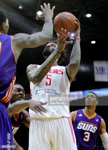 Chris Walker of the Rio Grande Valley Vipers shoots the ball between the Northern Arizona Suns defense at the State Farm Arena March 19 2017 in...