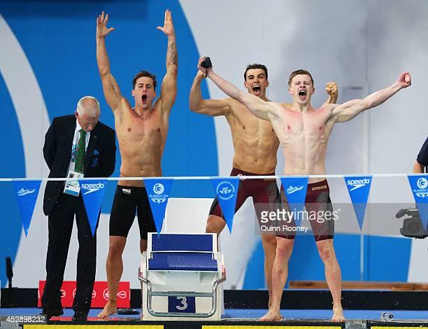Chris WalkerHebborn Adam Barrett and Adam Peaty of England celebrate winning the gold medal in the Men's 4 x 100m Medley Relay Final at Tollcross...