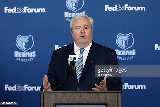 Chris Wallace General Manager Memphis Grizzlies speaks to the media during a press conference announcing the purchase of NBA Development League team...