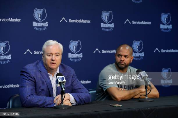 Chris Wallace GM of the Memphis Grizzlies intoduces JB Bickerstaff Interim head coach during a Press Conference on November 28 2017 at FedExForum in...