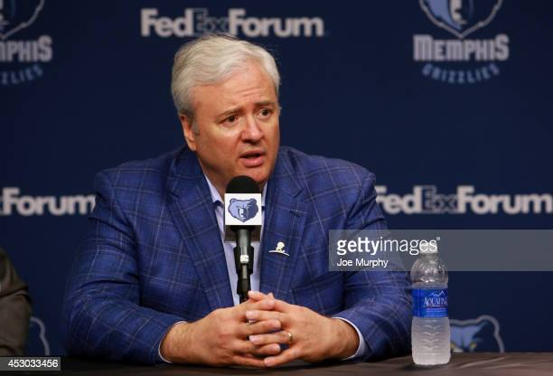 Chris Wallace of the Memphis Grizzlies addresses the media during a press conference introducing front office additions on August 1 2014 at FedEx...