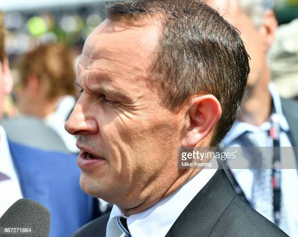 Chris Waller after Who Shot Thebarman won the McCafe Moonee Valley Gold Cup at Moonee Valley Racecourse on October 28 2017 in Moonee Ponds Australia