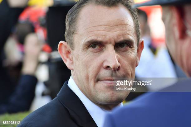Chris Waller after Winx ridden by Hugh Bowman won the Ladbrokes Cox Plate at Moonee Valley Racecourse on October 28 2017 in Moonee Ponds Australia