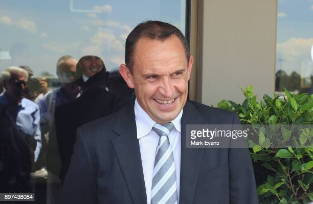 Chris Waller celebrates his 100th winner of the season with Cellerman in race 3 during Sydney Racing at Warwick Farm on December 23 2017 in Sydney...