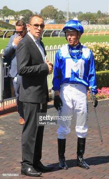 Chris Waller thanks Kerrin McEvoy for riding Winx in a gallop during Sydney Racing at Rosehill Gardens on March 17 2018 in Sydney Australia