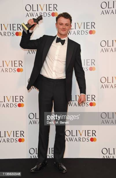 Chris Walley winner of the Best Actor In A Supporting Role award for The Lieutenant Of Inishmore poses in the press room at The Olivier Awards 2019...