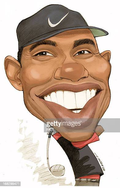 Chris Ware caricature of golfer Tiger Woods