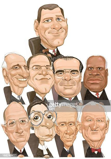 Chris Ware color caricature montage of all nine US Supreme Court Justices