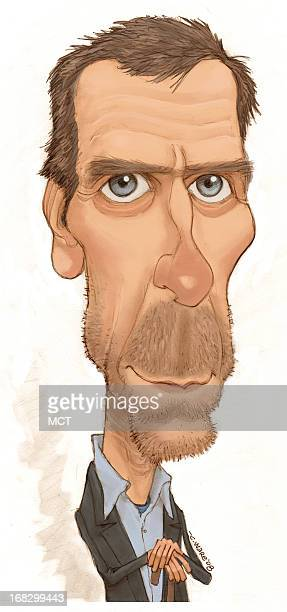 Chris Ware color caricature of actor Hugh Laurie