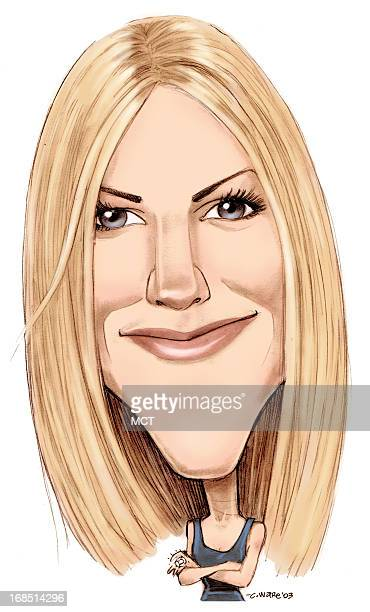 Chris Ware color caricature of actress Jennifer Aniston