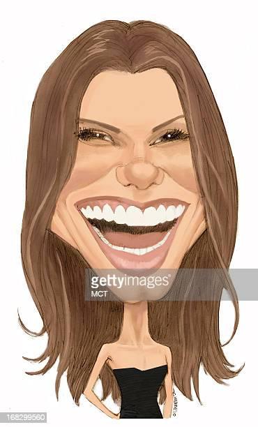 Chris Ware color caricature of actress Sandra Bullock