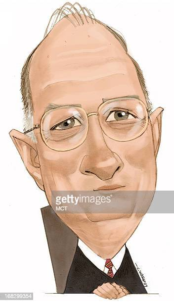 Chris Ware color caricature of Associate Justice of the Supreme Court Anthony Kennedy