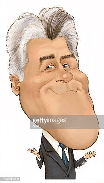 Chris Ware color caricature of comedian Jay Leno