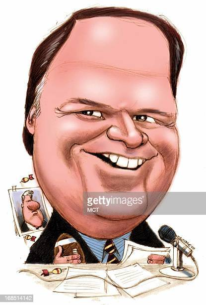 Chris Ware color caricature of conservative radio host Rush Limbaugh