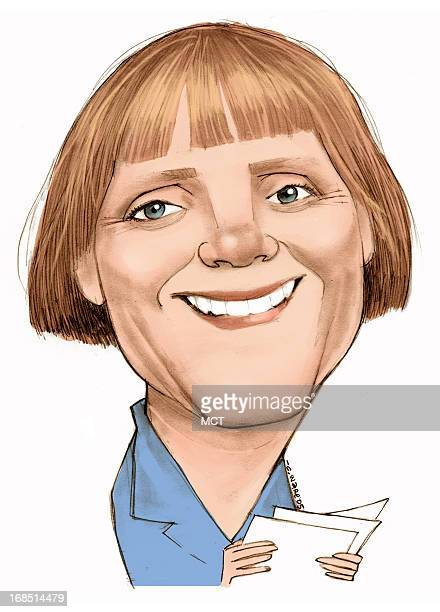 Chris Ware color caricature of German politician Dr Angela Merkel head of the Christian Democratic Union political party