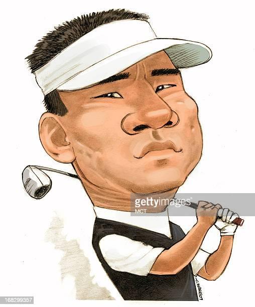 Chris Ware color caricature of golfer KJ Choi