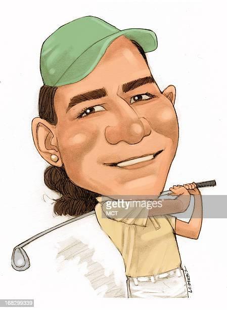 Chris Ware color caricature of LPGA golfer Lorena Ochoa