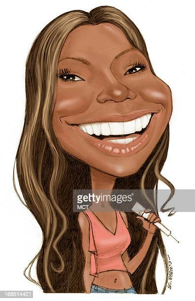 Chris Ware color caricature of RB/hip hop star Ashanti
