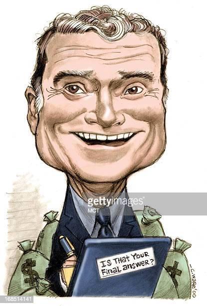 Chris Ware color caricature of TV host and celebrity Regis Philbin
