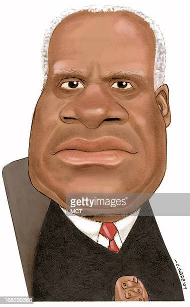 Chris Ware color caricature of US Supreme Court Justice Clarence Thomas