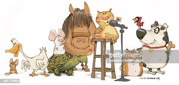 Chris Ware color illustration of a bunch of animals getting in line behind a microphone to auditon for being a pet includes cat mouse duck horse...