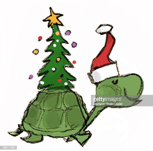 Chris Ware color illustration of a cartoon turtle wearing a Santa hat and walking merrily with a lit Christmas tree on his shell