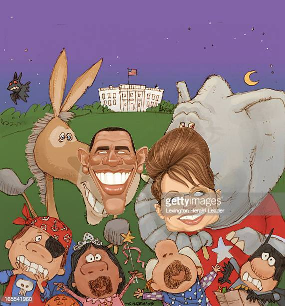 Chris Ware color illustration of a Democratic donkey wearing a mask of US presidential candidate Barack Obama and a Republican elephant wearing a...